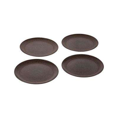 EVO Sustainable Goods 8 in. Dark Brown Eco-Friendly Wood-Plastic Composite Plate (Set of 4)