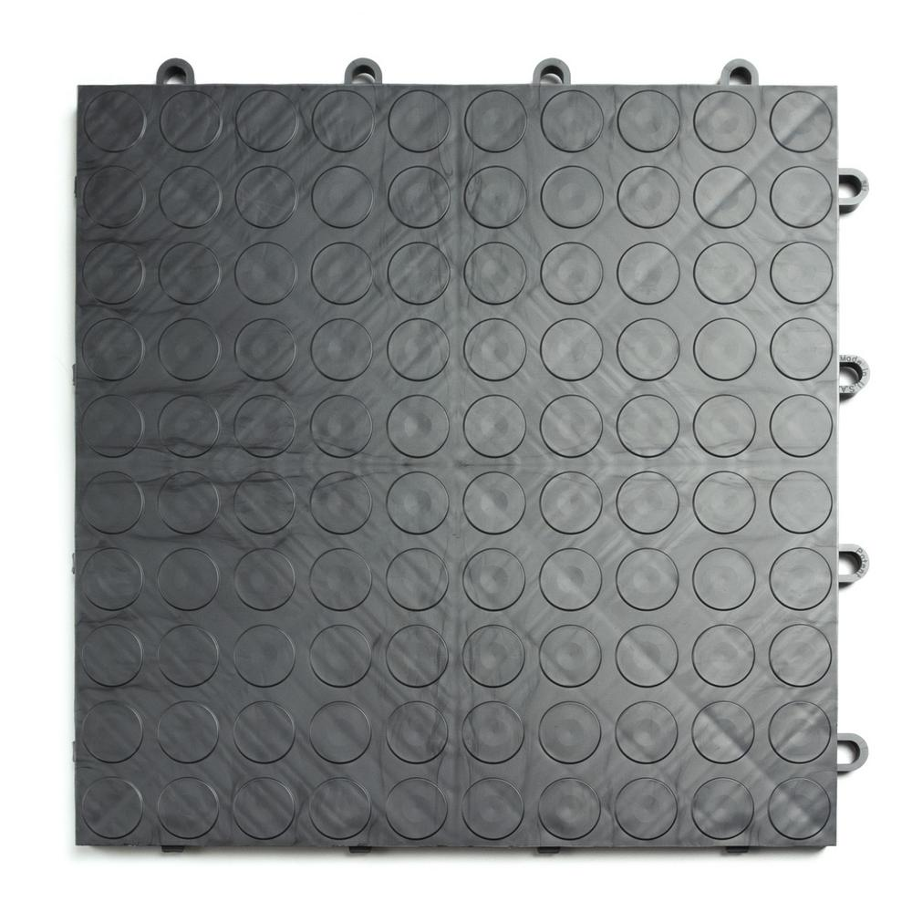 12 in. x 12 in. Coin Graphite Modular Tile Garage Flooring