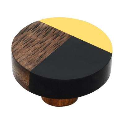 Fusion 1-1/2 in. Black and Brass Cabinet Knob