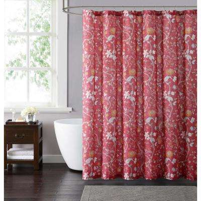 Bedford 72 in. Red and Neutral Shower Curtain