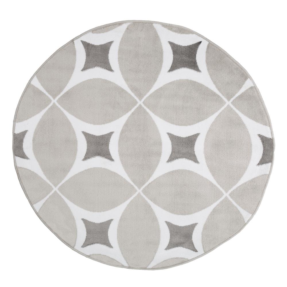 Geometric Grey And White 5 Ft X Round Area Rug