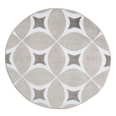 Geometric Grey and White 5 ft. x 5 ft. Round Area Rug