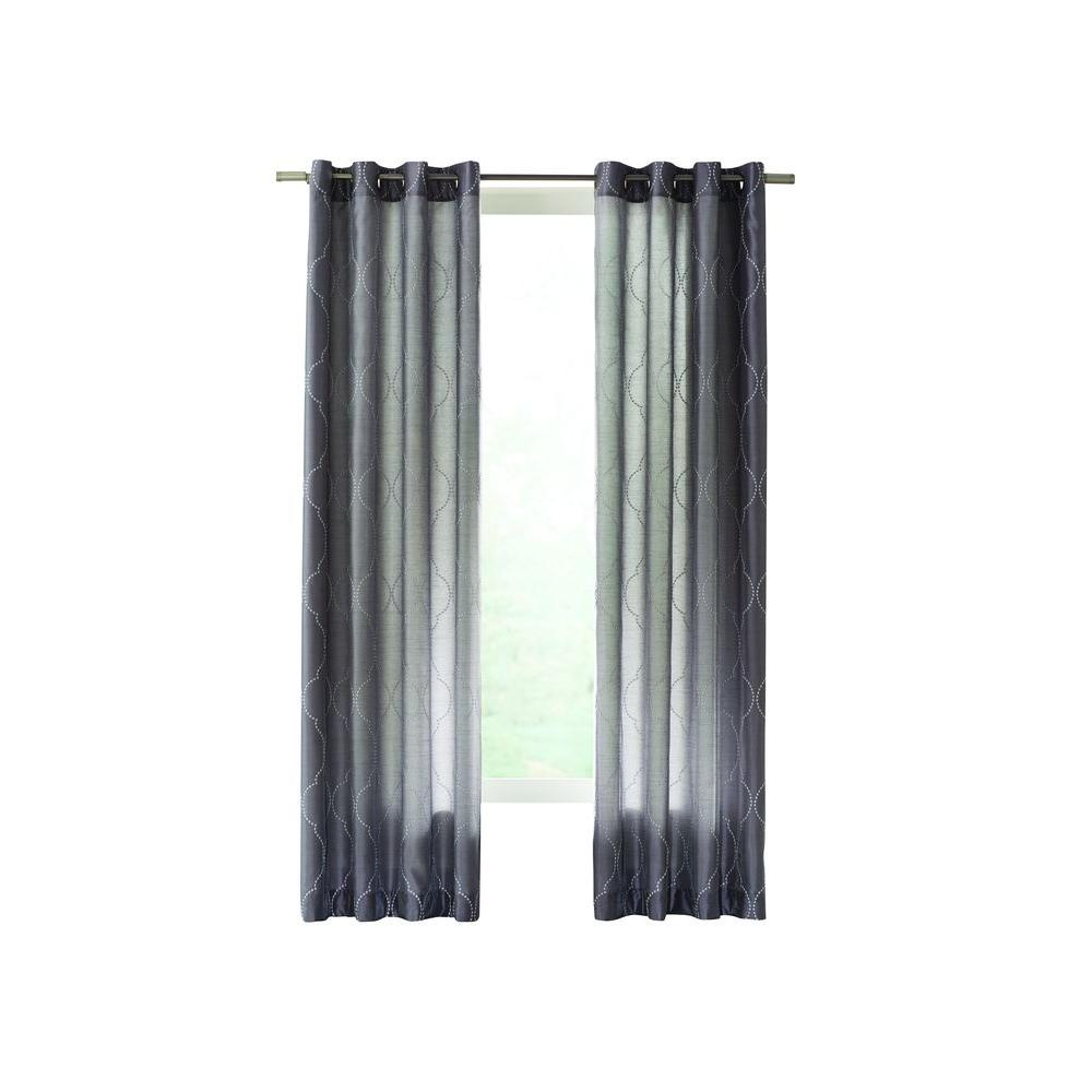 Home Decorators Collection Gray Hourglass Embroidered Lined Curtain - 50 in. W x 63 in. L
