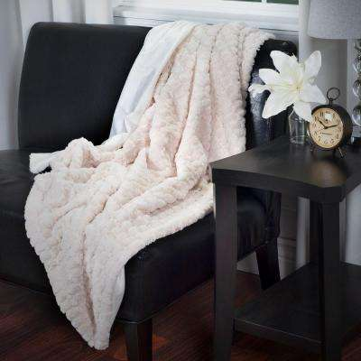 Beige Plush Striped Embossed Faux Fur Mink Throw