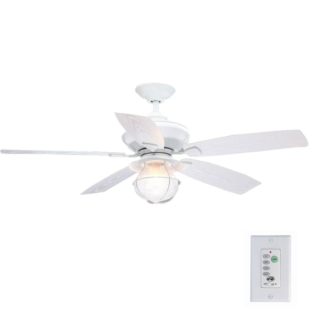Hampton Bay Sailwind II 52 in. Indoor/Outdoor Matte White Ceiling Fan with Wall Control and Light Kit