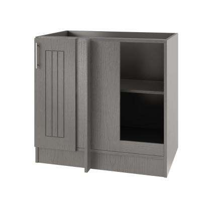 Assembled 39x34.5x24 in. Naples Island Blind Outdoor Kitchen Base Corner Cabinet w/Full Height Door Right in Rustic Gray
