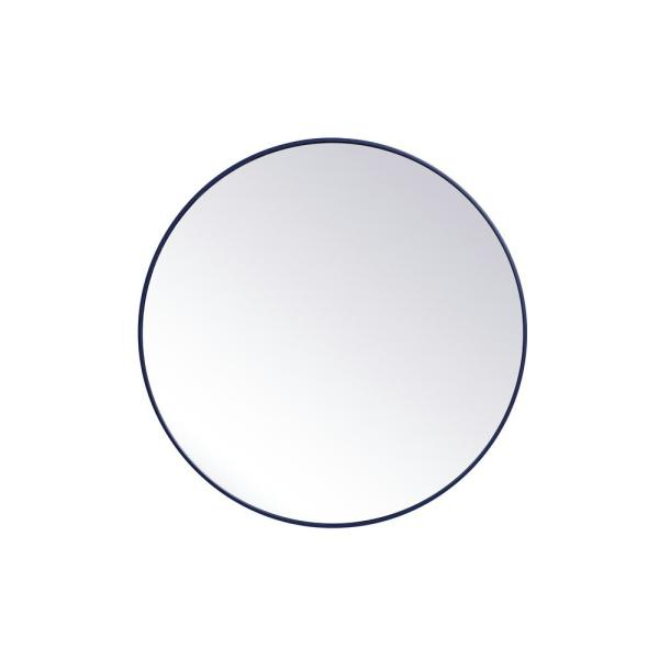 Medium Round Blue Modern Mirror (39 in. H x 39 in. W)