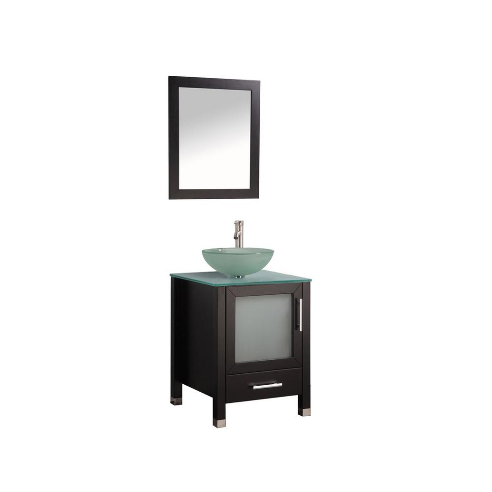 MTD Vanities Cuba 24 in. W x 20 in. D x 36 in. H Vanity in Espresso with Glass Vanity Top in Aqua with Green Basin and Mirror