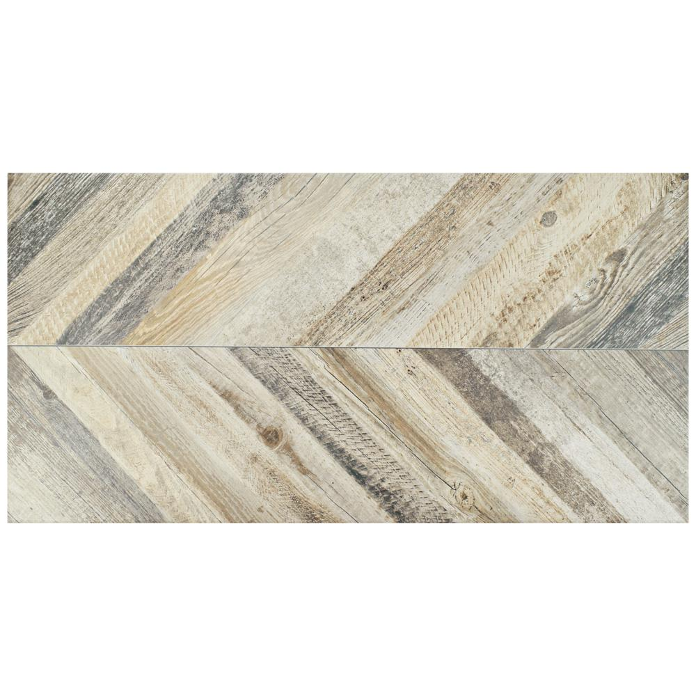 Merola Tile Stratos Chevron Madera 17-5/8 in. x 35-3/8 in. Porcelain Floor and Wall Tile (4 cases / 53.07 sq. ft. / pallet)