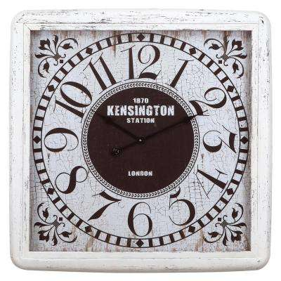 32 in. x 32 in. Square Iron Wall Clock with Glass in Distressed Iron Frame