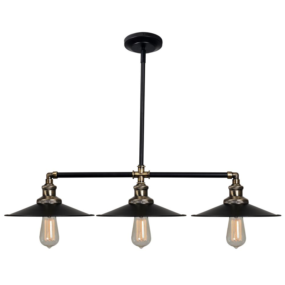 kenroy home ancestry 3 light bronze island pendant with black shade