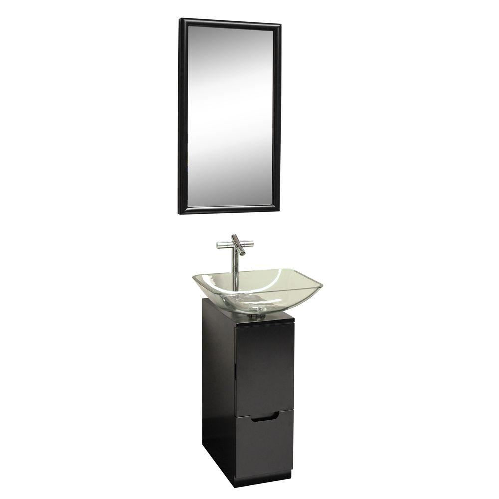 DreamLine 9.875 in. W x 17.75 in. D x 28.5 in. H Vanity in Black with Clear Glass Vanity Top and Mirror in Black