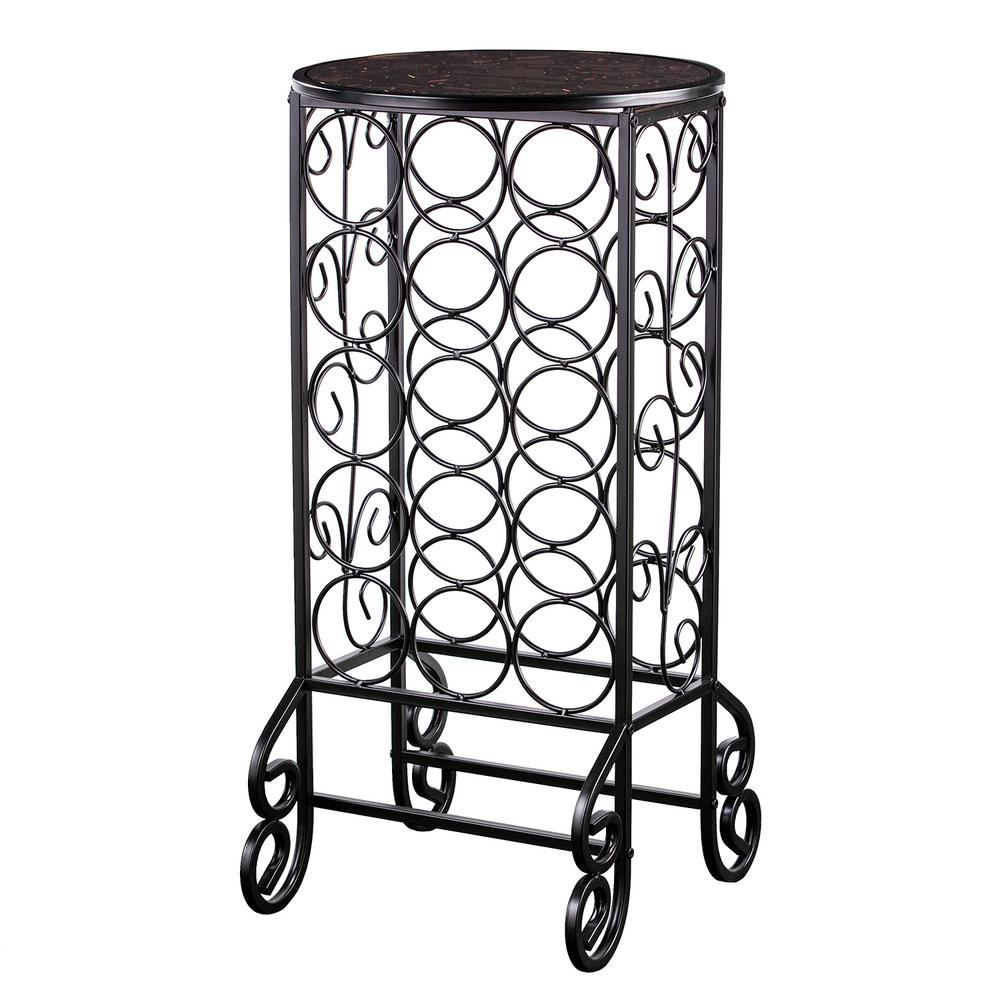 15-Bottle Black Floor Wine Rack