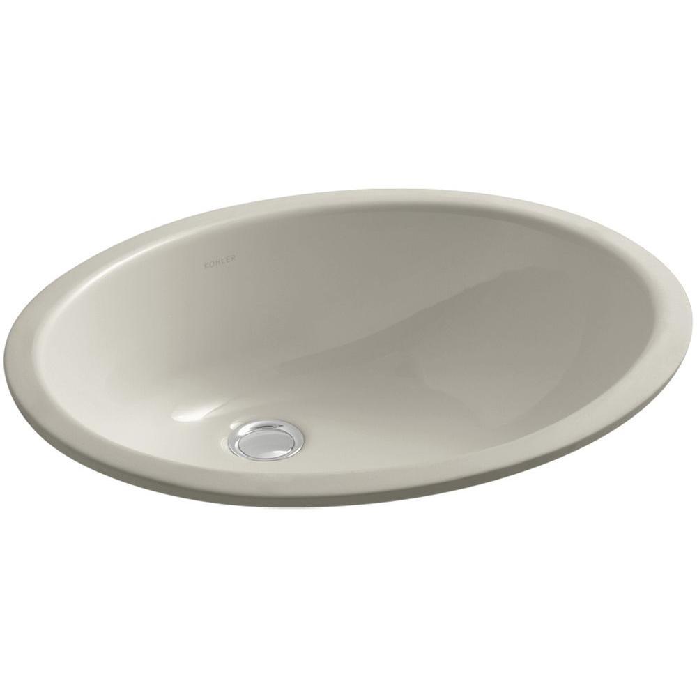 Caxton Vitreous China Undermount Bathroom Sink with Glazed Underside in Sandbar with Overflow Drain