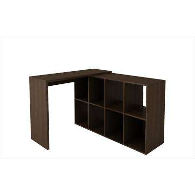 Accentuations Taranto Tobacco Cubby Desk with 8 Shelves