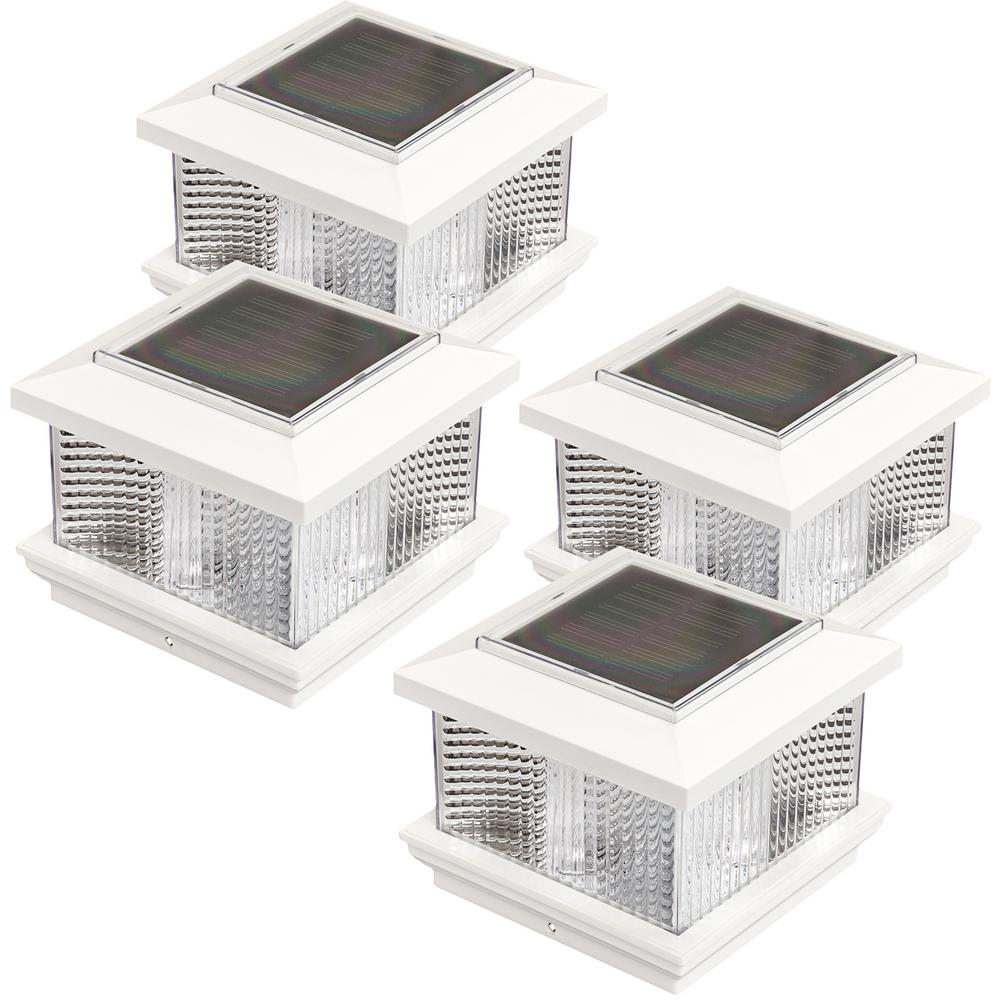 5 in. x 5 in. Solar Powered Integrated LED White Plastic ...