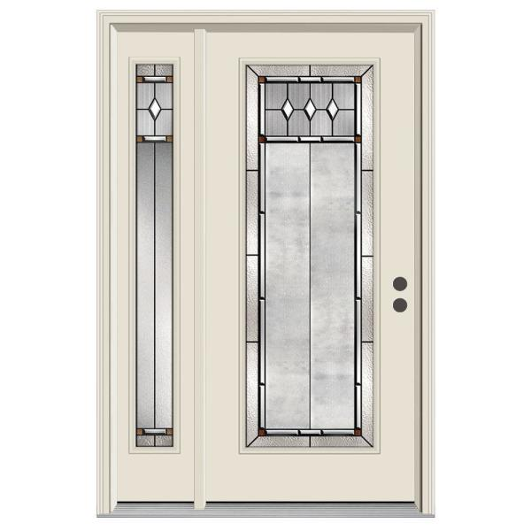 52 in. x 80 in. Full Lite Mission Prairie Primed Steel Prehung Left-Hand Inswing Front Door with Left-Hand Sidelite