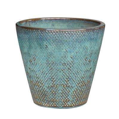 Peyton 14.6 in. Dia Blue Patina Ceramic Planter