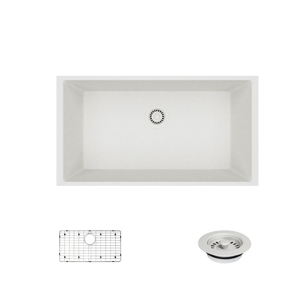 Undermount Composite Granite 32-5/8 in. Single Bowl Kitchen Sink in Ivory