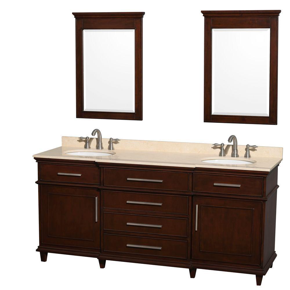 Wyndham Collection Berkeley 72 In. Double Vanity In Dark Chestnut With  Marble Vanity Top In