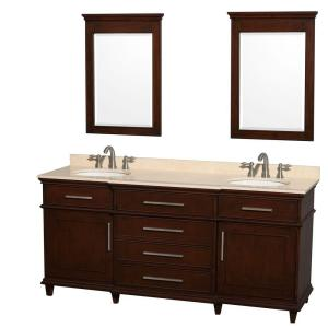 Wyndham Collection Berkeley 72 inch Double Vanity in Dark Chestnut with Marble... by Wyndham Collection