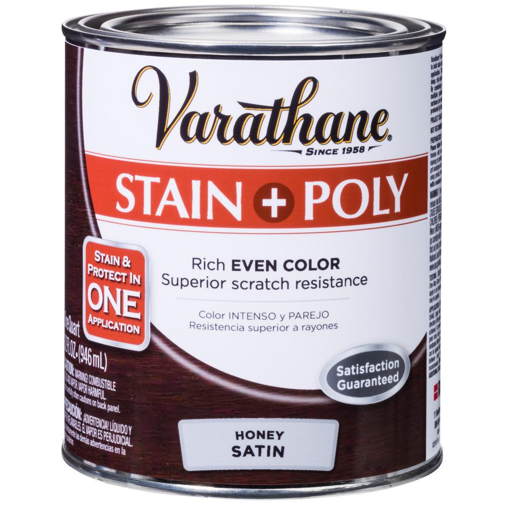 Varathane 1-qt. Honey Satin Water-Based Interior Stain and Polyurethane (2-Pack)