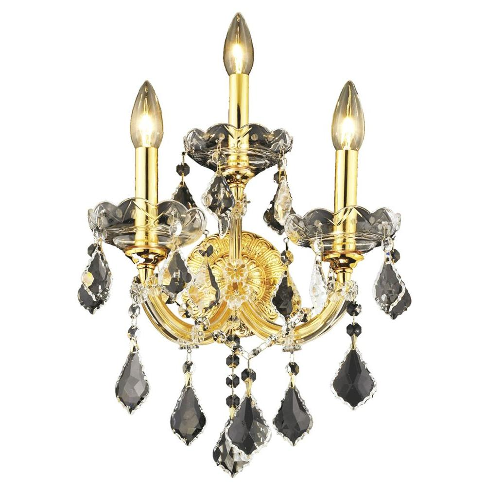 3-Light Gold Sconce with Clear Crystal