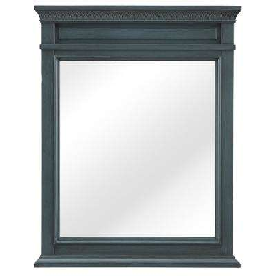 Cailla 25 in. W x 32 in. H Framed Wall Mirror in Distressed Blue Fog