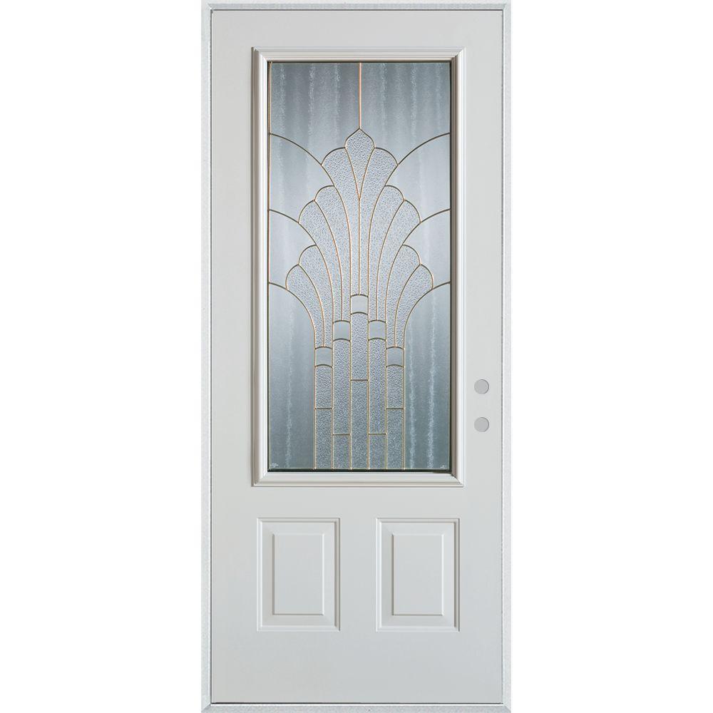 36 in. x 80 in. Art Deco 3/4 Lite 2-Panel Painted White Steel Prehung Front Door