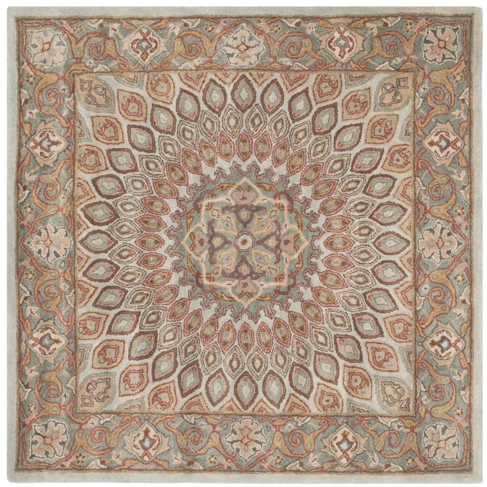 Safavieh Heritage Blue Grey 10 Ft X 10 Ft Square Area