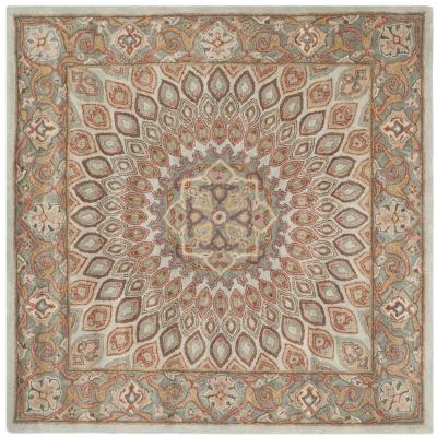 Heritage Blue/Grey 10 ft. x 10 ft. Square Area Rug