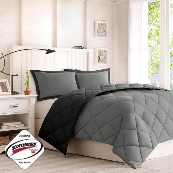 Windsor 3-Piece Black/Gray King 3M Scotchgard Diamond Quilting Reversible Down Alternative Comforter Set