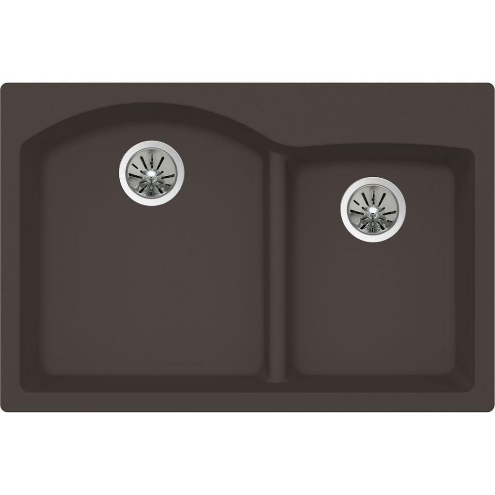 Elkay Premium Quartz Drop In/Undermount Composite 33 In. Double Bowl  Kitchen Sink In Chestnut ELXH3322RCN0   The Home Depot