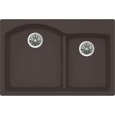 Quartz Luxe Drop-In/Undermount Composite 33 in. Rounded Offset Double Bowl Kitchen Sink in Chestnut