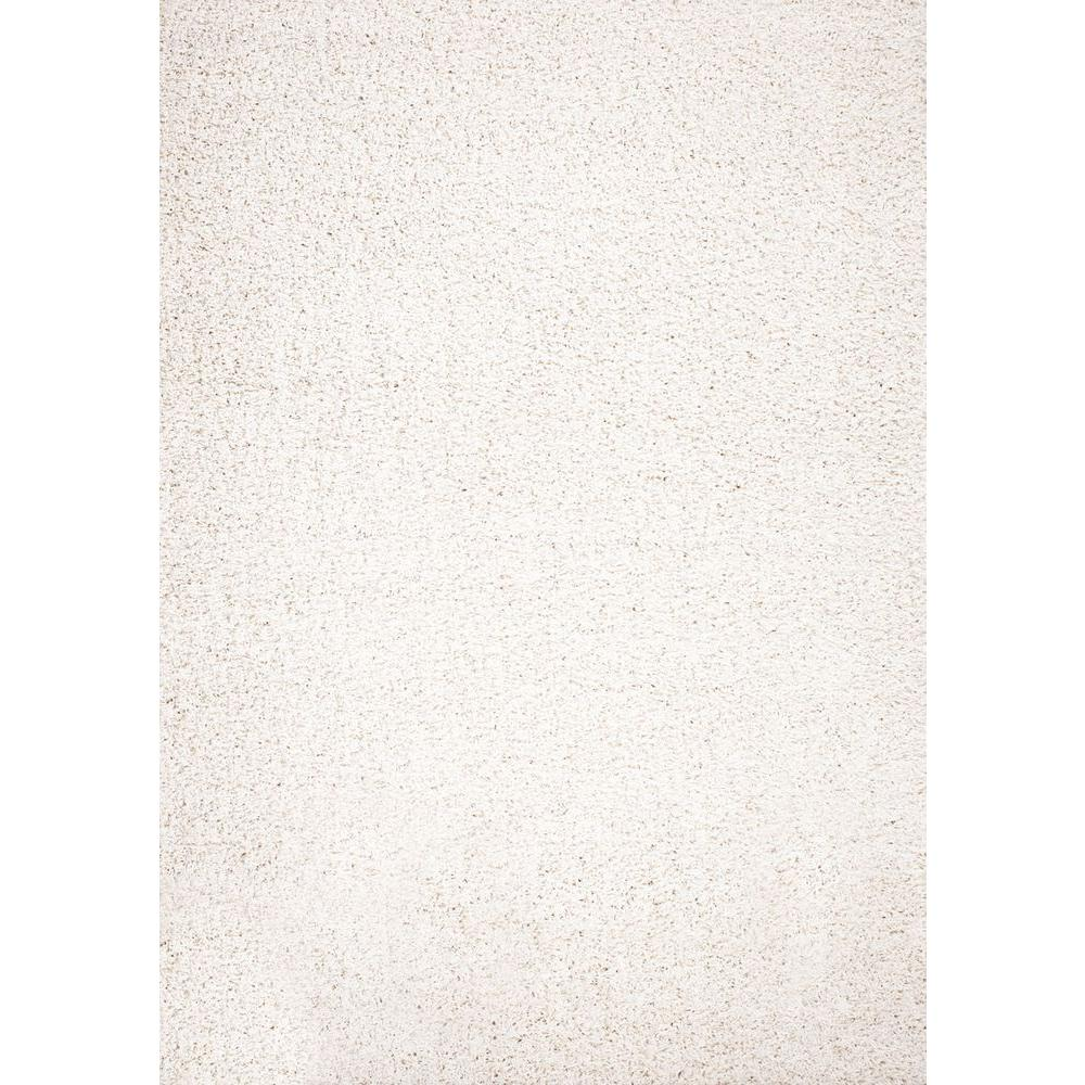 Concord Global Trading Shaggy Plain Ivory 3 ft. 3 in. x 4 ft. 7 in. Area Rug