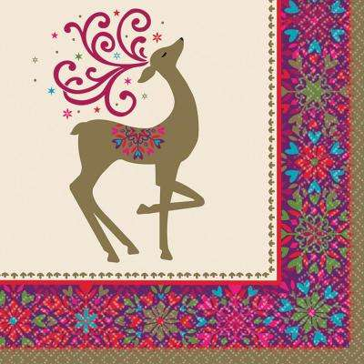 Winter Whimsy Deer 6.5 in. x 6.5 in. Paper Christmas Lunch Napkin (36-Count, 3-Pack)