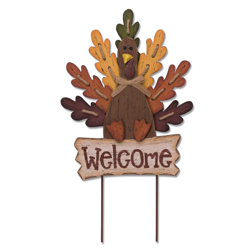 Glitzhome 23.62 in. H Burlap/Wooden Turkey Welcome Sign or Yard Stake