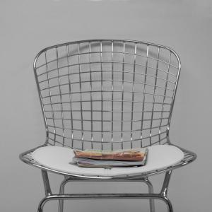 Incredible Mid Century Modern Chrome Wire Counter Stool With 24 In Seat Height White Theyellowbook Wood Chair Design Ideas Theyellowbookinfo
