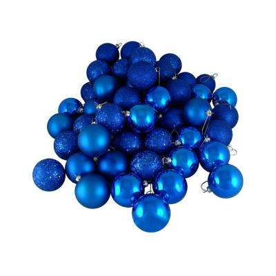 Lavish Blue 4-Finish Shatterproof Christmas Ball Ornaments (24-Count)