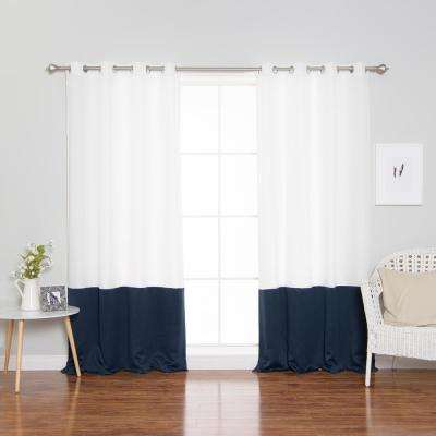 84 in. L Polyester Oxford Navy Colorblock Curtains in White (2-Pack)
