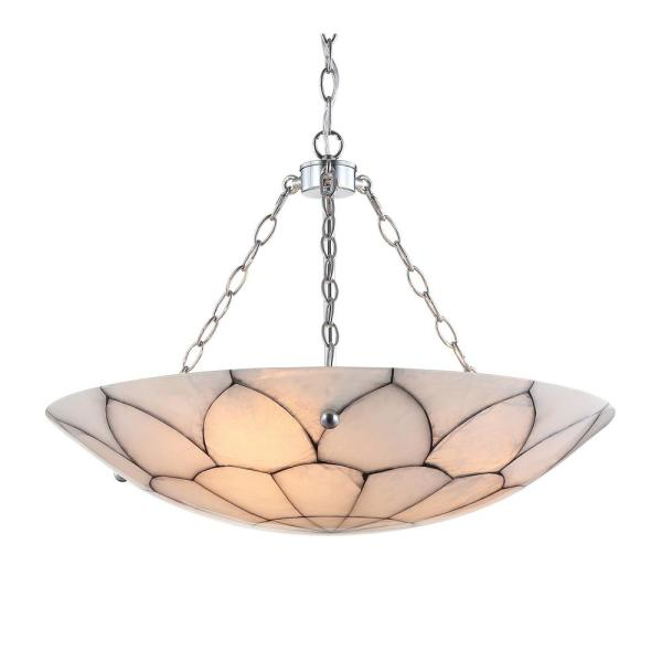 Bailey 23.5 in. 3-Light White/Chrome Adjustable Marble/Metal LED Pendant