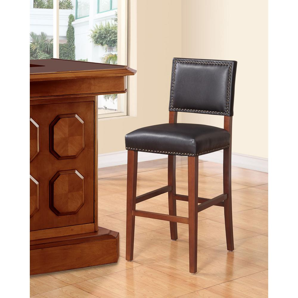 Brook 30 in. Black Cushioned Bar Stool