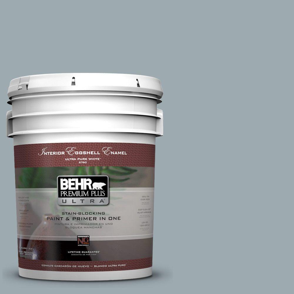 BEHR Premium Plus Ultra 5-gal. #ECC-30-1 Pelican Bay Eggshell Enamel Interior Paint
