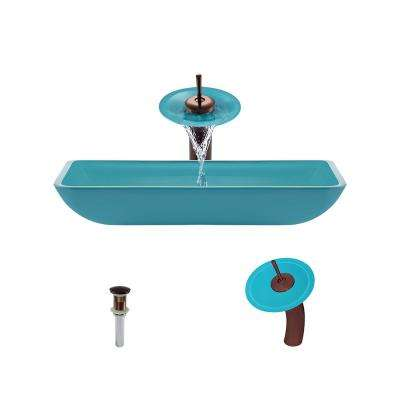 Glass Vessel Sink in Turquoise with Waterfall Faucet and Pop-Up Drain in Oil Rubbed Bronze