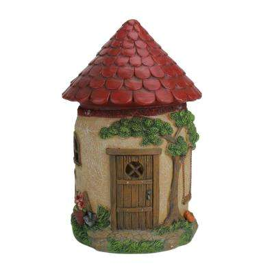 11.5 in. LED Lighted Solar Powered Round Mushroom-Esque House Outdoor Garden Statue