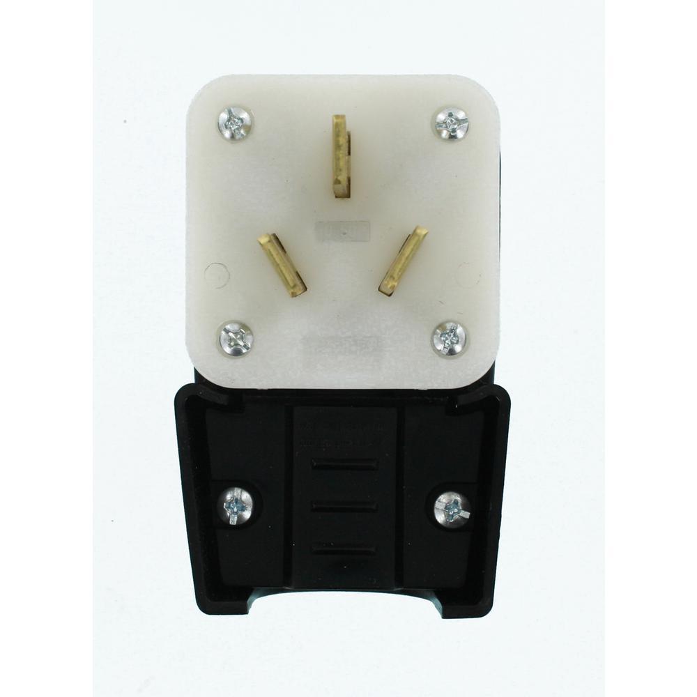 50 Amp 125/250-Volt Industrial Grade Straight Blade Range Plug, Black