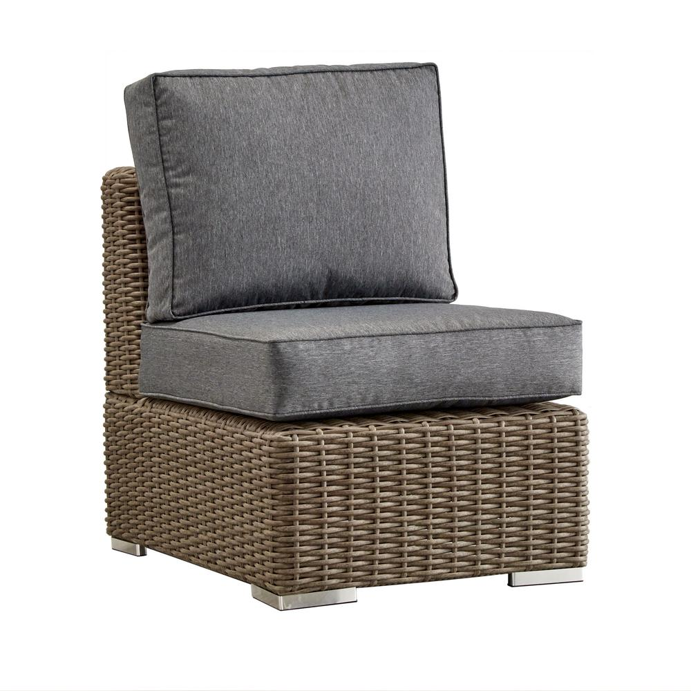 Camari Mocha Wicker Armless Middle Outdoor Sectional Chair with Gray Cushion