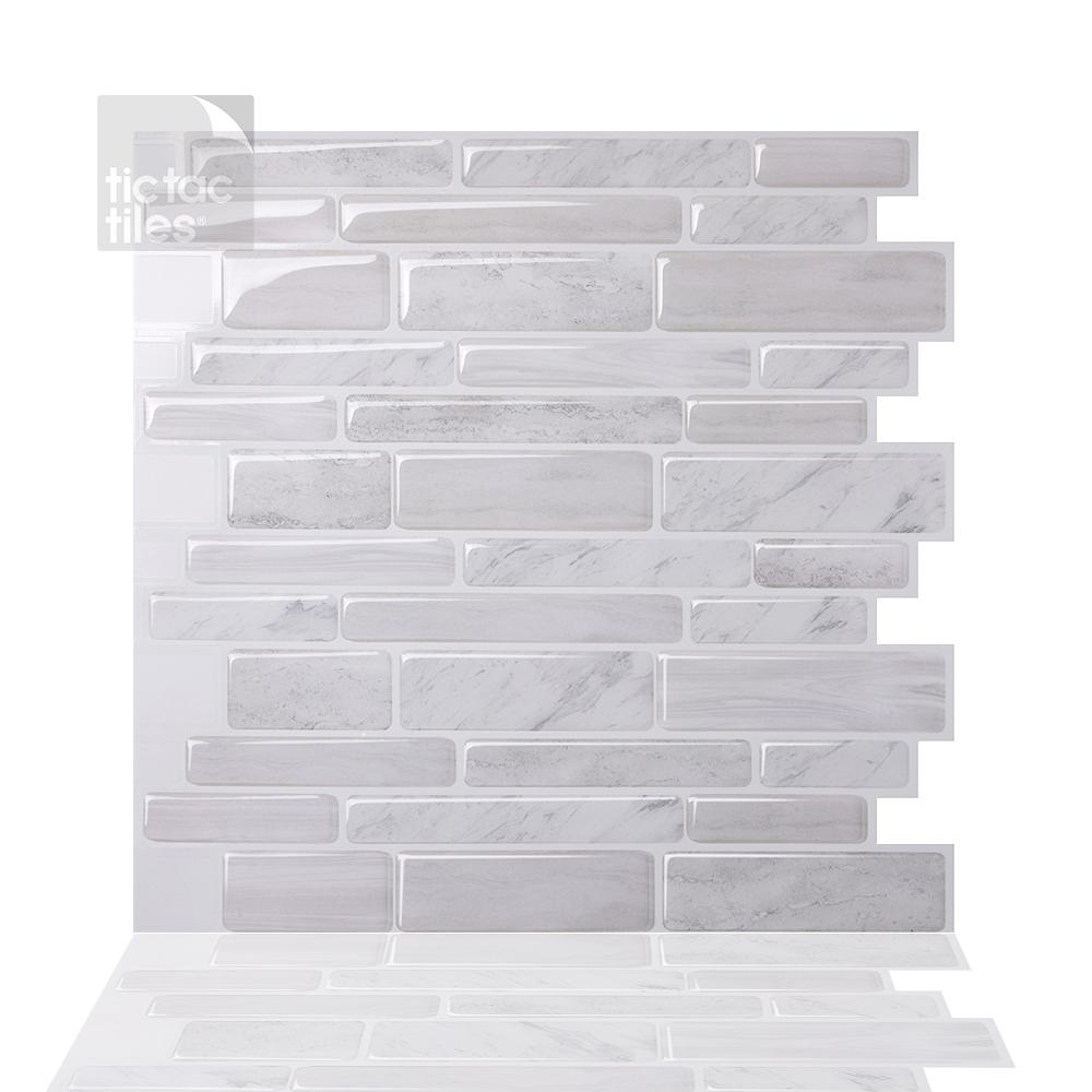 Tic Tac Tiles Polito White 10 In W X 10 In H Light Gray Pvc Peel And Stick Decorative Mosaic Wall Tile Backsplash 10 Tiles Hd Brs11 10 The Home Depot