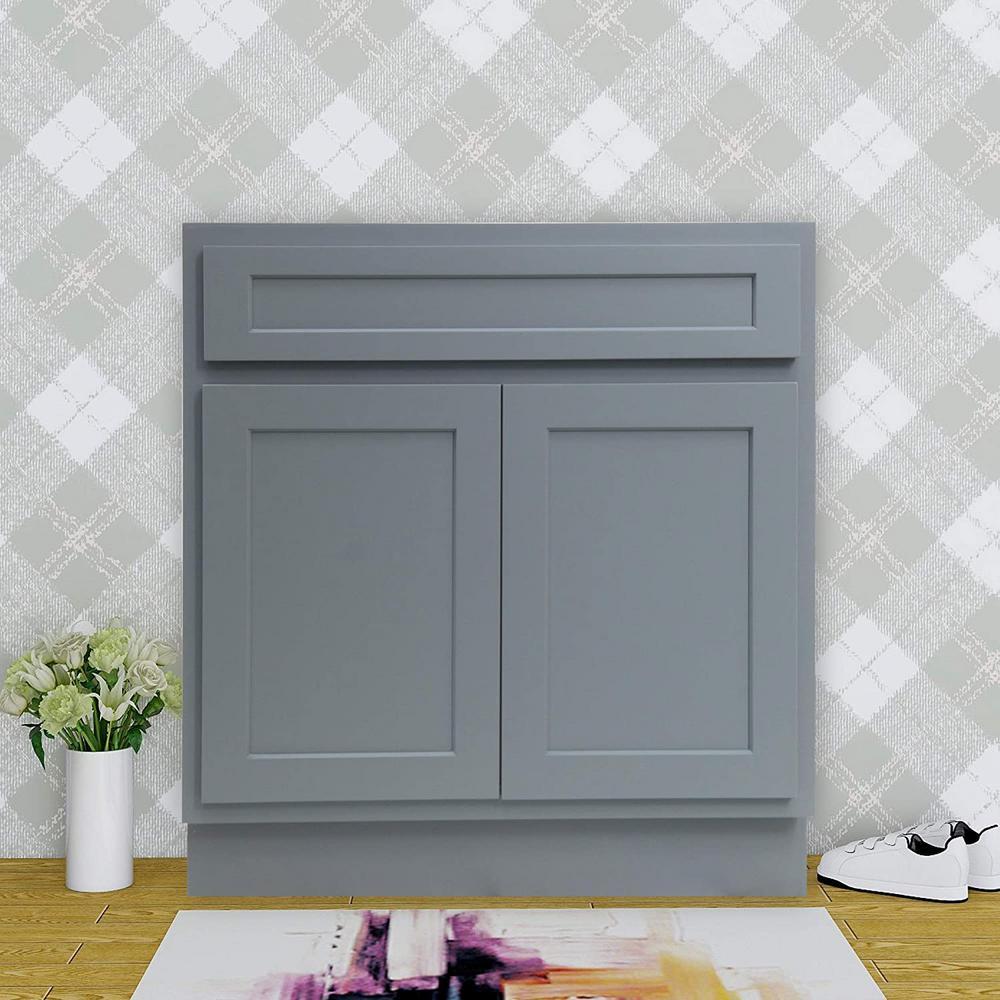 39 in. W x 21 in. D x 32.5 in. H 2-Doors Bath Vanity Cabinet Only in Gray
