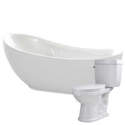 Talyah 71 in. Acrylic Flatbottom Non-Whirlpool Bathtub with Kame 2-Piece 1.28 GPF Single Flush Toilet